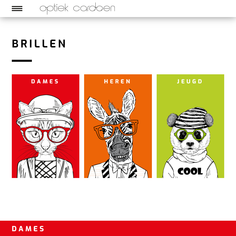 Screenshot website Optiek Cardoen